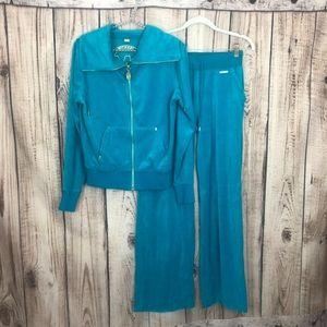 NWOT Michael Kors Blue Sweatsuit Jacket Pants S XS